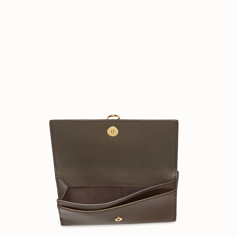 FENDI CONTINENTAL MEDIUM - Slim brown leather continental wallet - view 4 detail