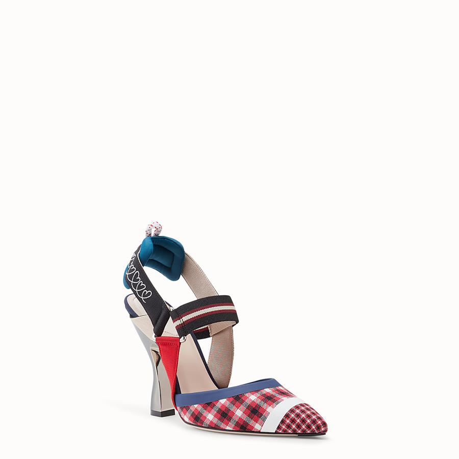 FENDI COURT SHOES - Multicolour wool slingbacks - view 3 detail