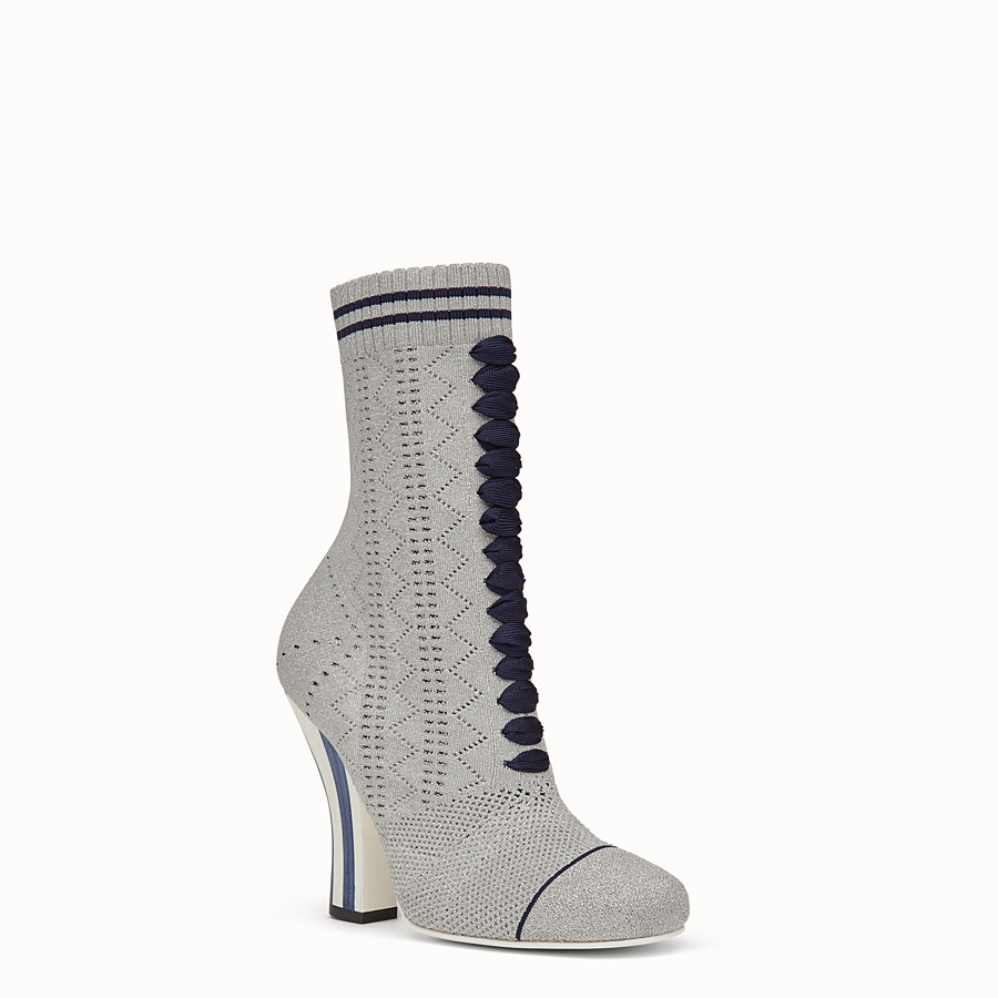 FENDI BOOTS - Grey fabric boots - view 2 detail