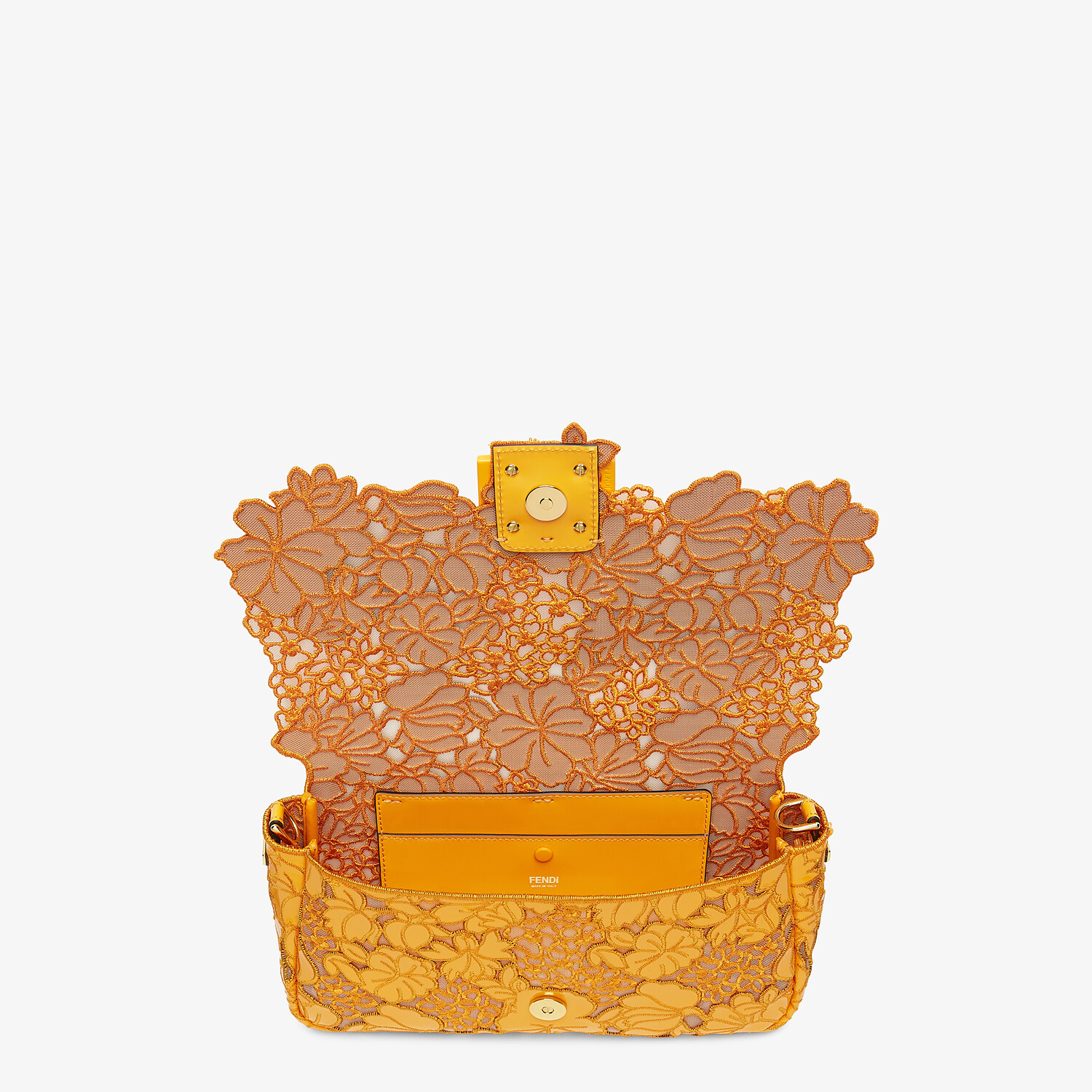 FENDI BAGUETTE - Embroidered orange patent leather bag - view 5 detail