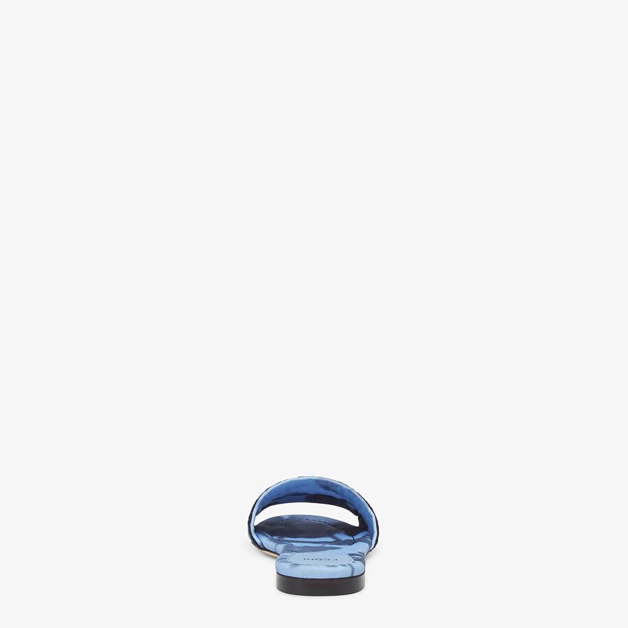 FENDI SIGNATURE SLIDES - Light blue canvas slides - view 3 detail