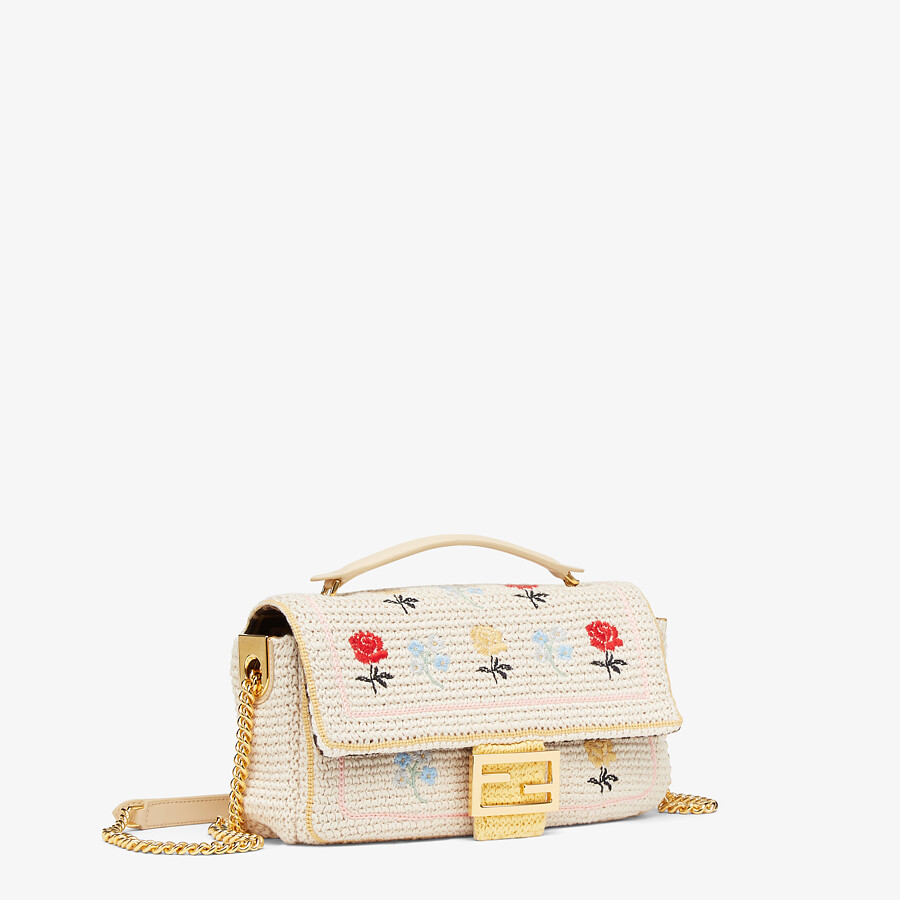 FENDI BAGUETTE - White embroidered cotton bag - view 2 detail
