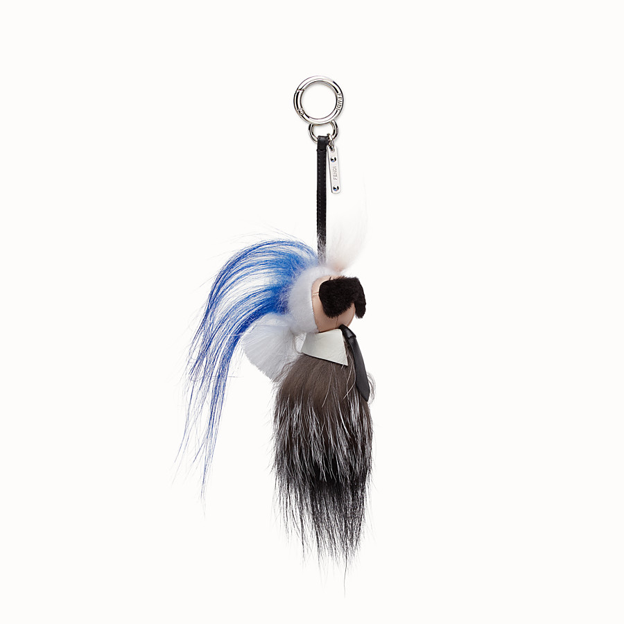 FENDI MINI KARLITO BAG CHARM - in fur with a blue edge - view 1 detail