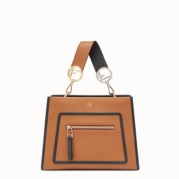 FENDI RUNAWAY SMALL - Borsa in pelle beige - vista 1 thumbnail piccola