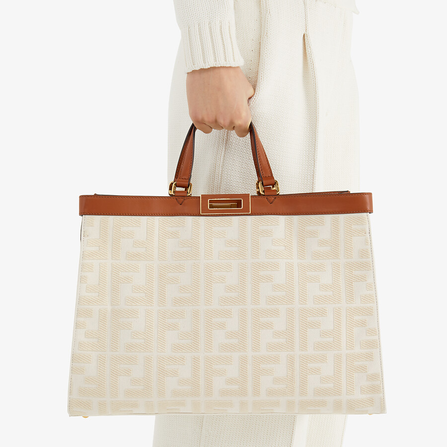 FENDI PEEKABOO X-TOTE - White canvas bag - view 2 detail