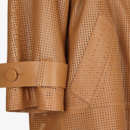 FENDI OVERCOAT - Brown leather trench coat - view 3 thumbnail