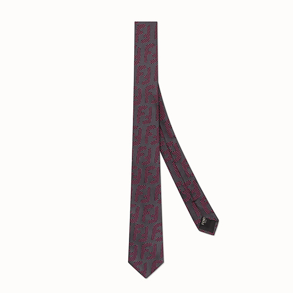 FENDI TIE - Grey silk necktie - view 1 small thumbnail