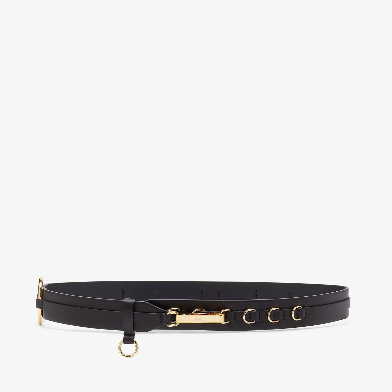 FENDI BELT - Black leather belt - view 1 detail