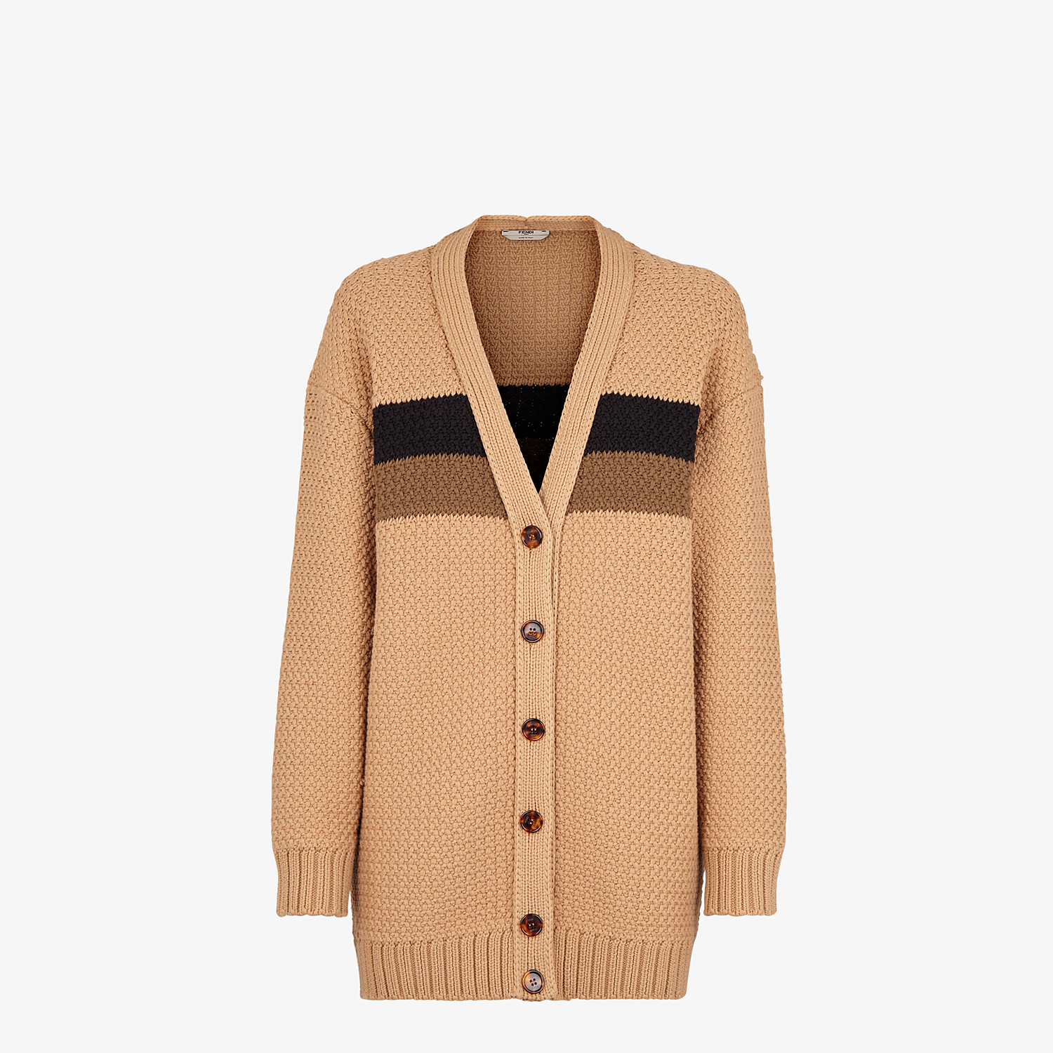 FENDI CARDIGAN - Beige cotton cardigan - view 1 detail