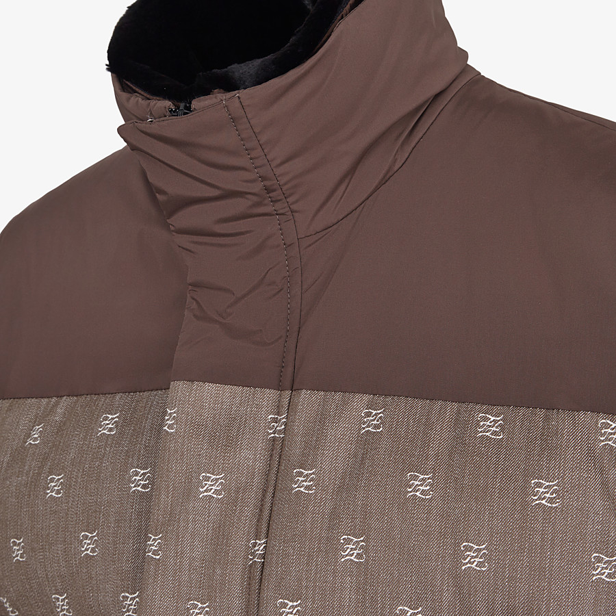 FENDI GILET - Brown jacquard fabric gilet - view 3 detail