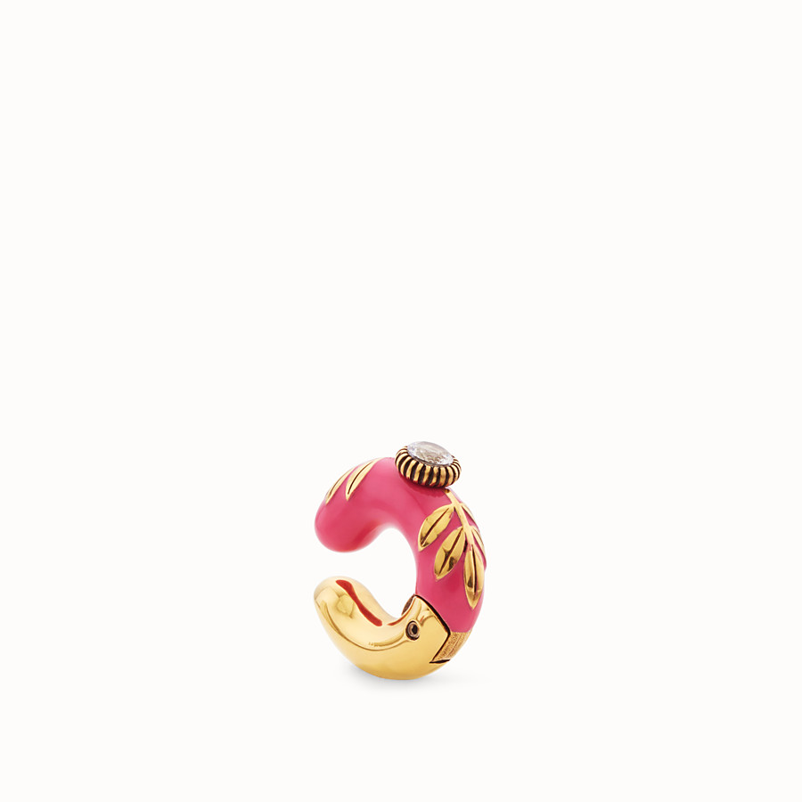 FENDI JULIUS CAESAR EARRING - Fuchsia and gold-coloured earring - view 1 detail