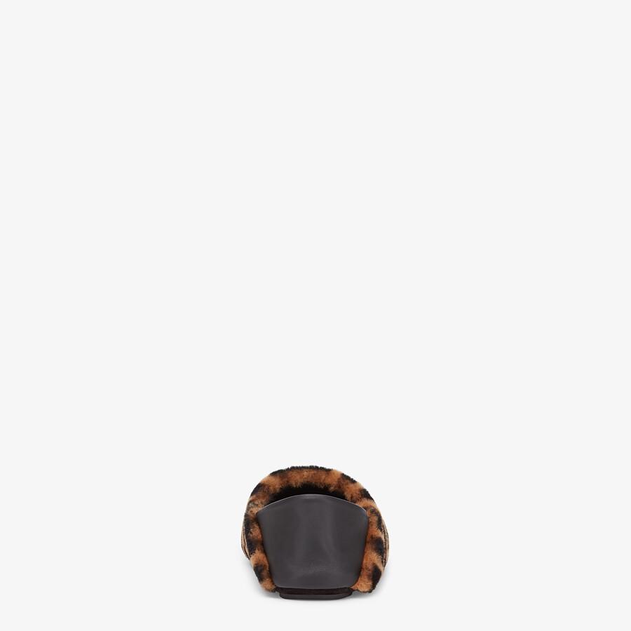 FENDI SLIPPERS - Brown sheepskin slippers - view 3 detail