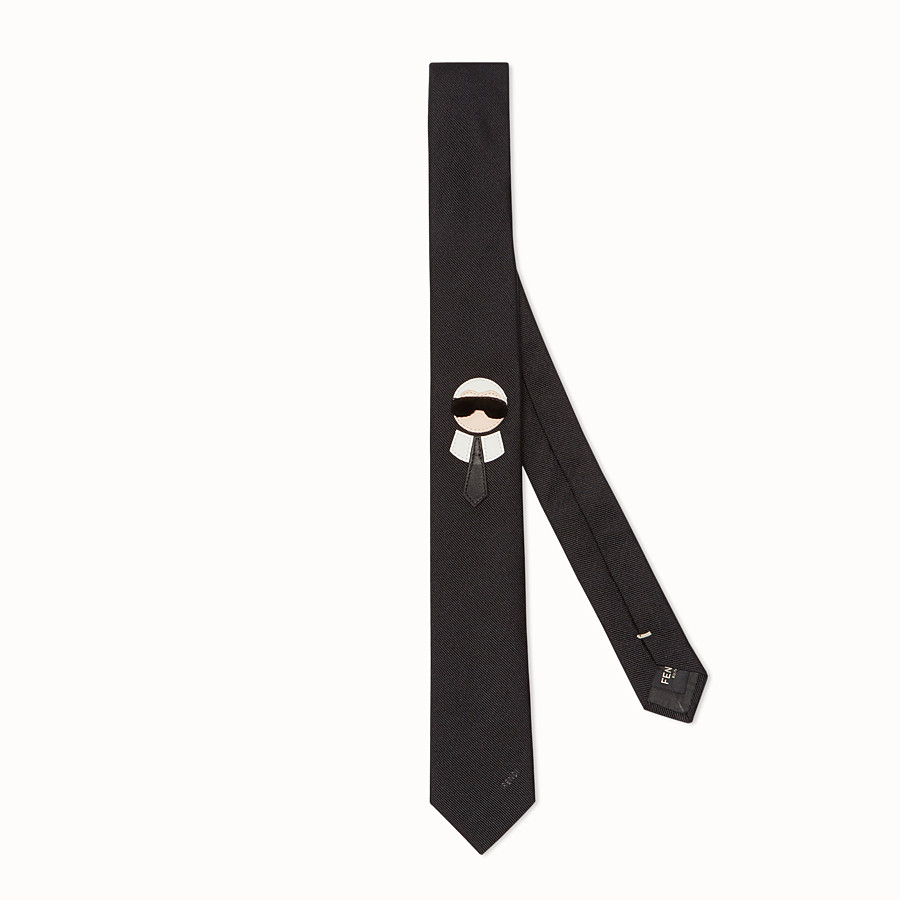 FENDI TIE - in black silk twill with inlay - view 1 detail