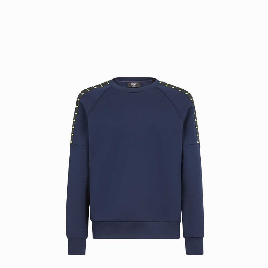 FENDI SWEATSHIRT - Blue cotton jersey sweatshirt - view 1 detail