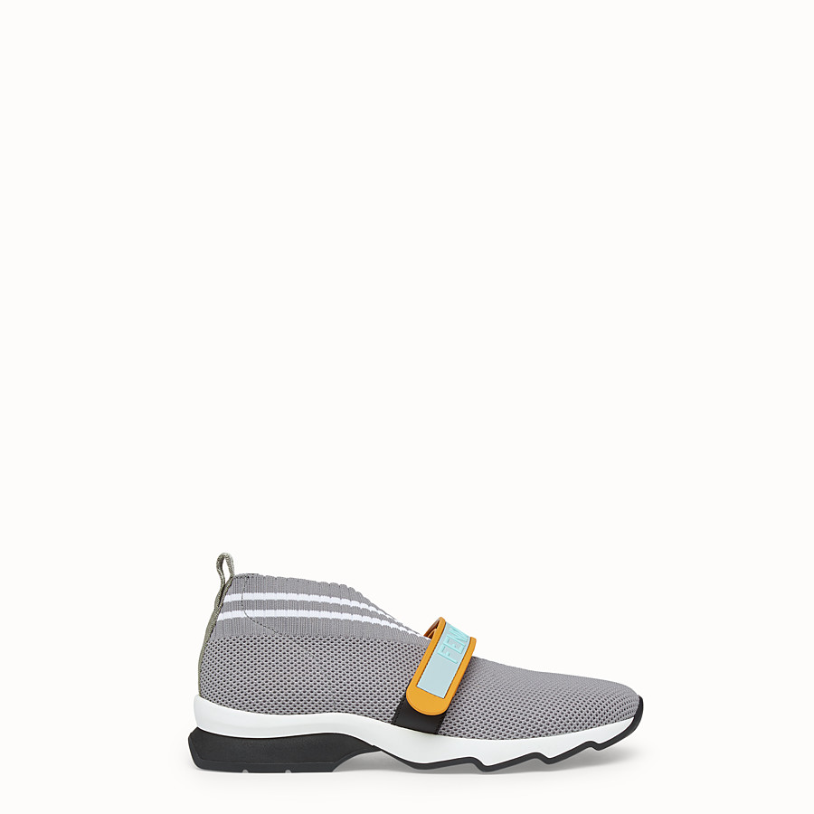FENDI SNEAKERS - Grey fabric sneakers - view 1 detail