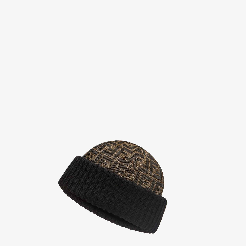 FENDI HAT - Skullcap in brown jacquard fabric - view 1 detail