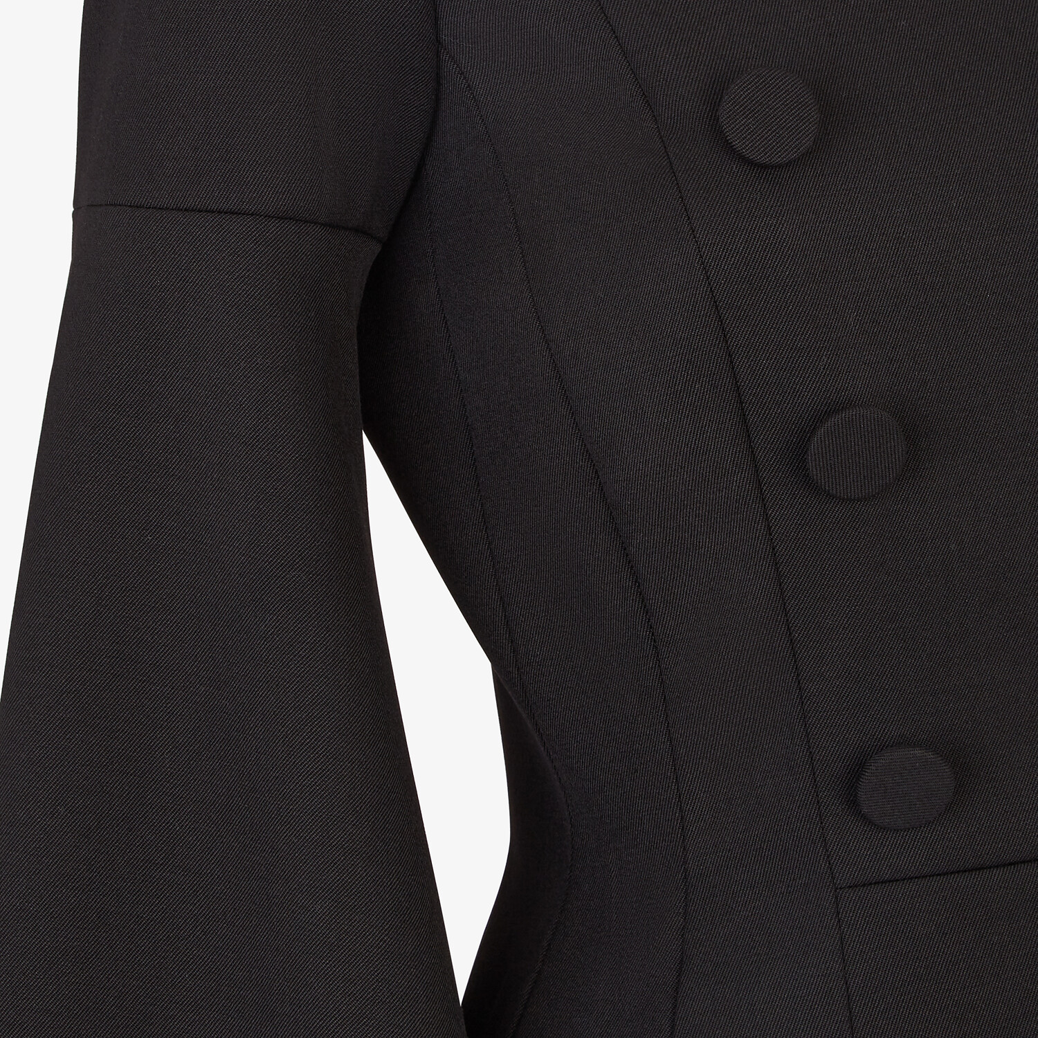 FENDI JACKET - Black silk and wool jacket - view 3 detail
