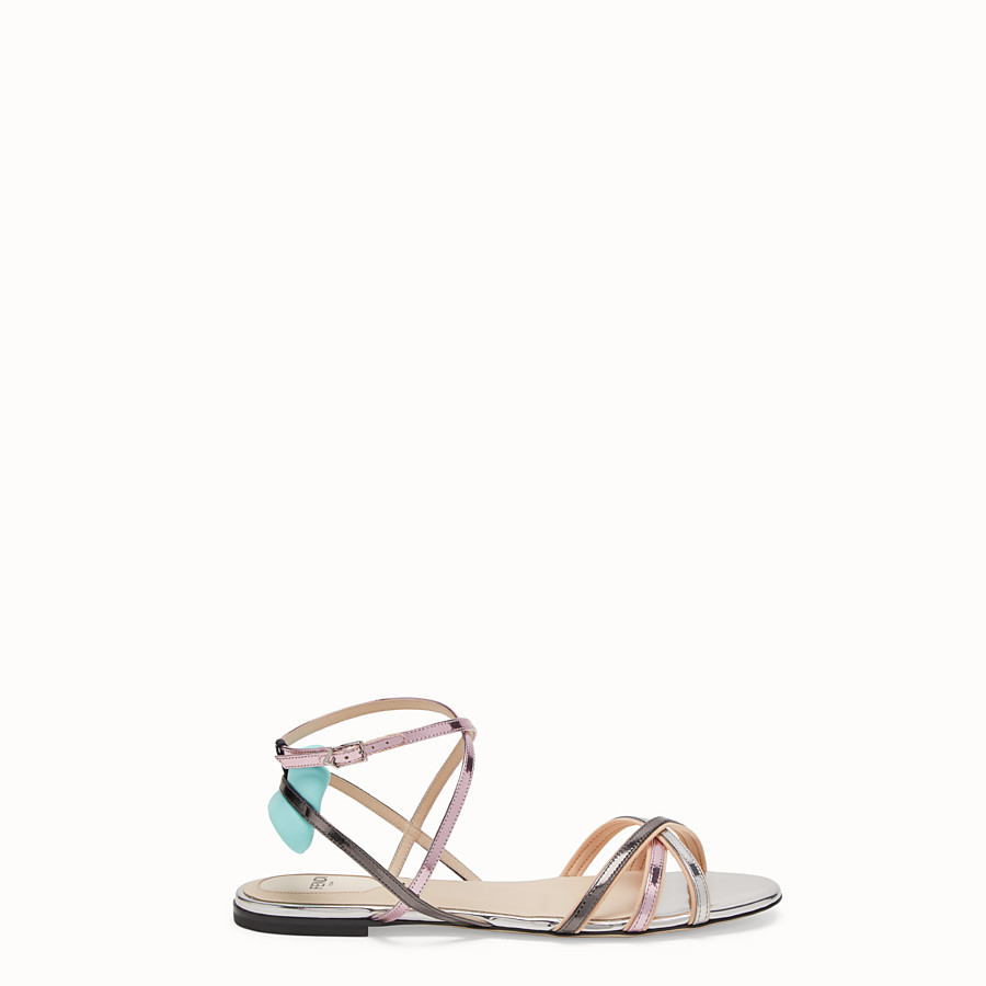 FENDI SANDALS - Multicolour laminated leather flats - view 1 detail