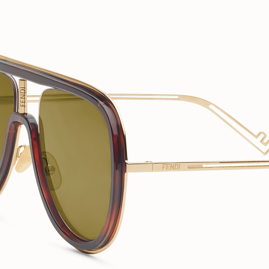 FENDI FUTURISTIC FENDI - Sonnenbrille in Gold und Havanna - view 3 detail