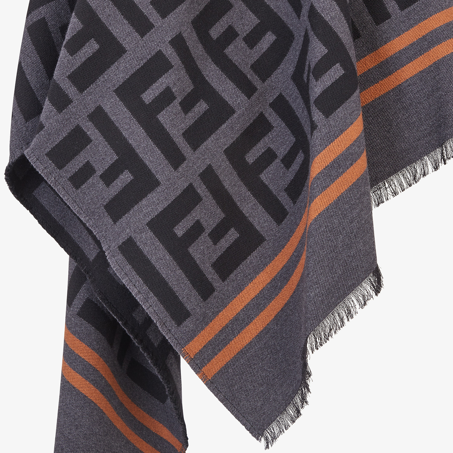 FENDI FF PONCHO - Poncho in black wool and silk - view 3 detail