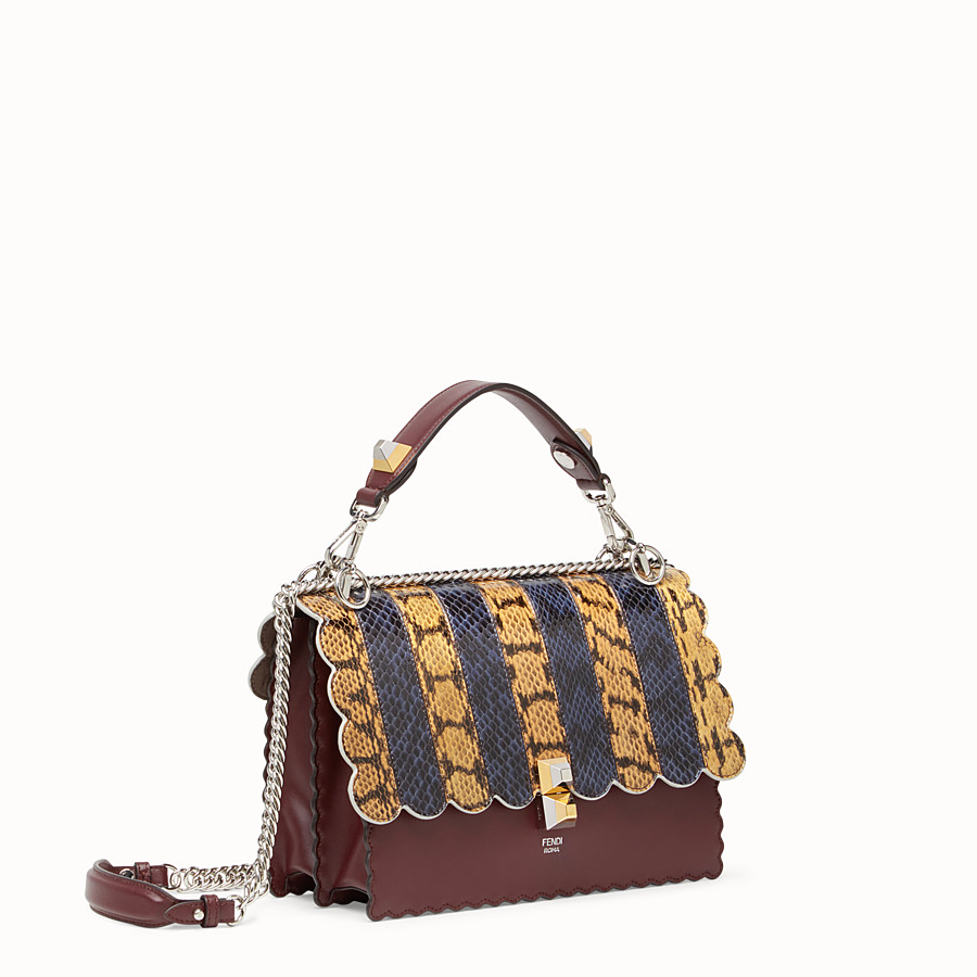 FENDI KAN I - Burgundy leather and python handbag - view 2 detail