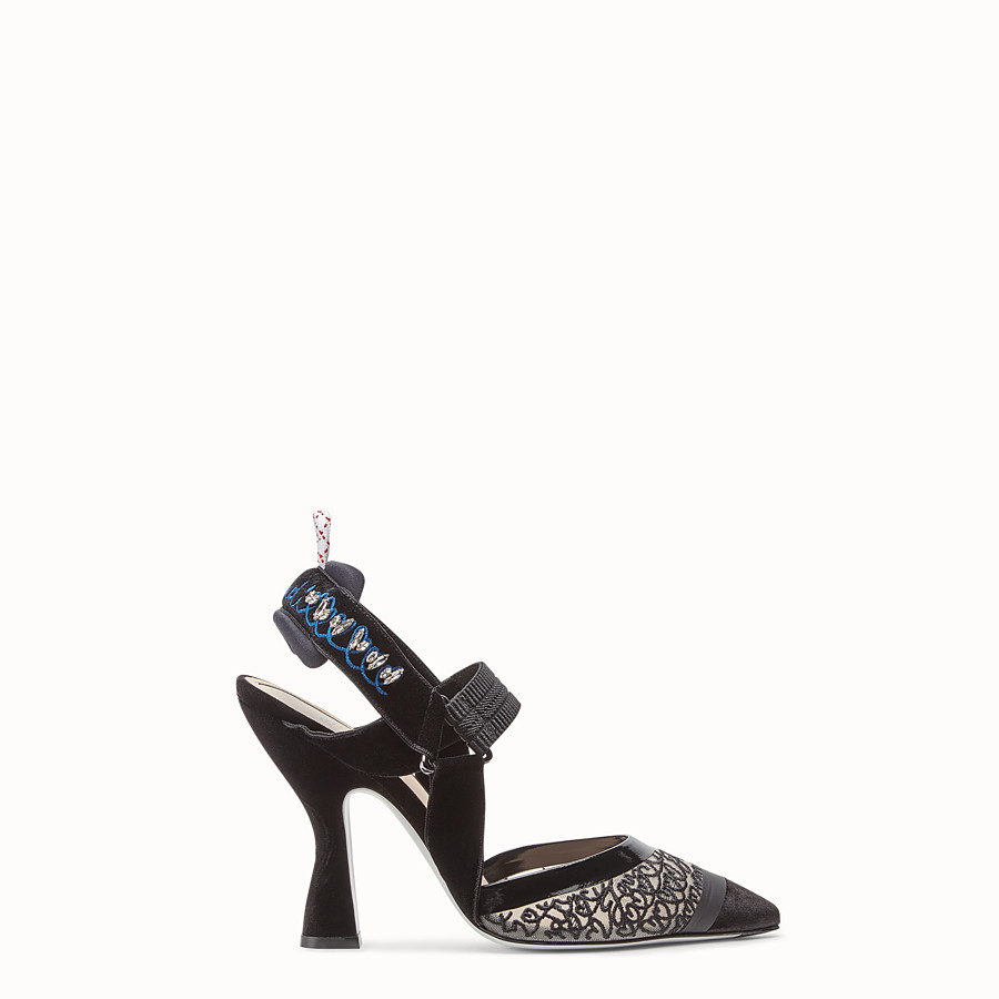 FENDI COURT SHOES - Black velvet slingbacks - view 1 detail