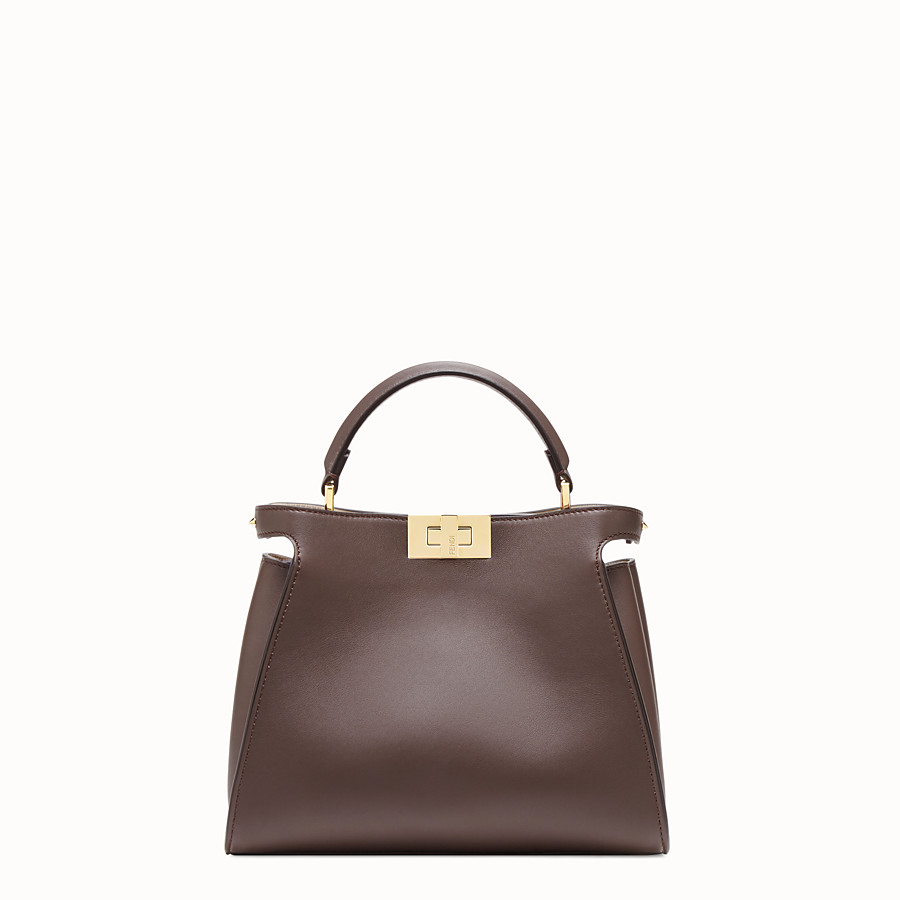 FENDI PEEKABOO ICONIC ESSENTIALLY - Tasche aus Leder in Braun - view 1 detail