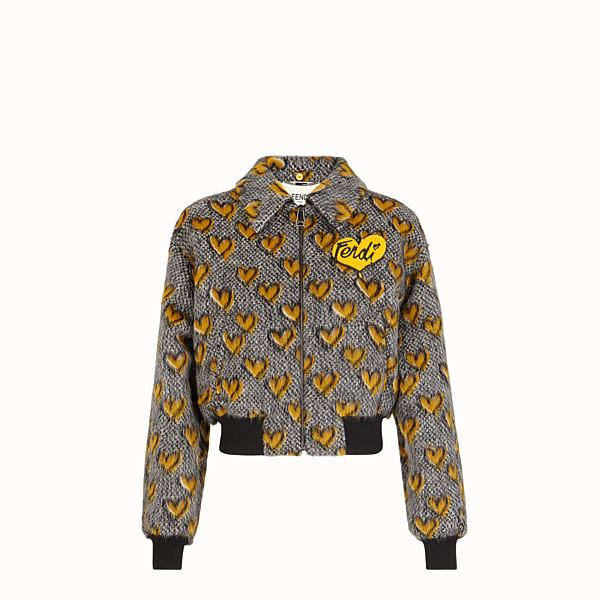 FENDI JACKET - Multicolour mohair bomber jacket - view 1 small thumbnail
