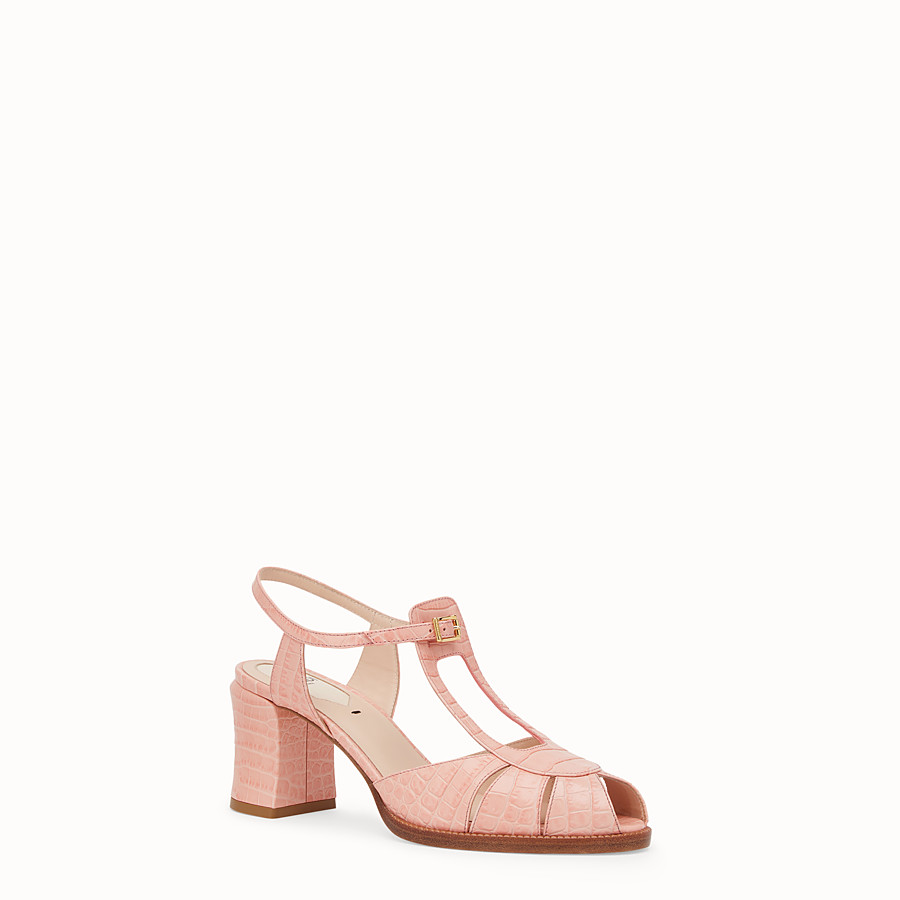 FENDI SANDALS - Pink leather sandals - view 2 detail