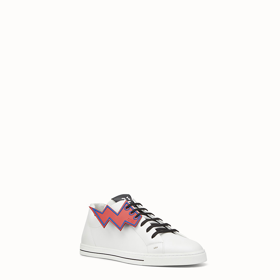 FENDI SNEAKER - White lace-up with lightning bolt - view 2 detail