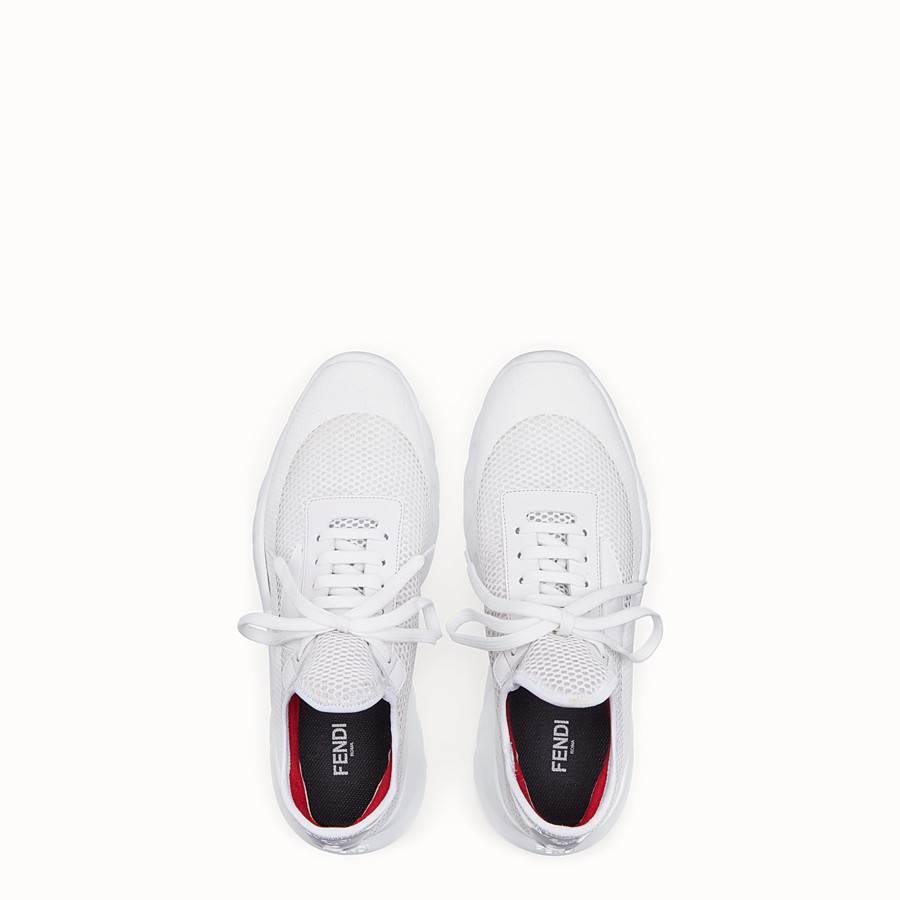 FENDI SNEAKERS - Running shoes in white tech mesh - view 4 detail