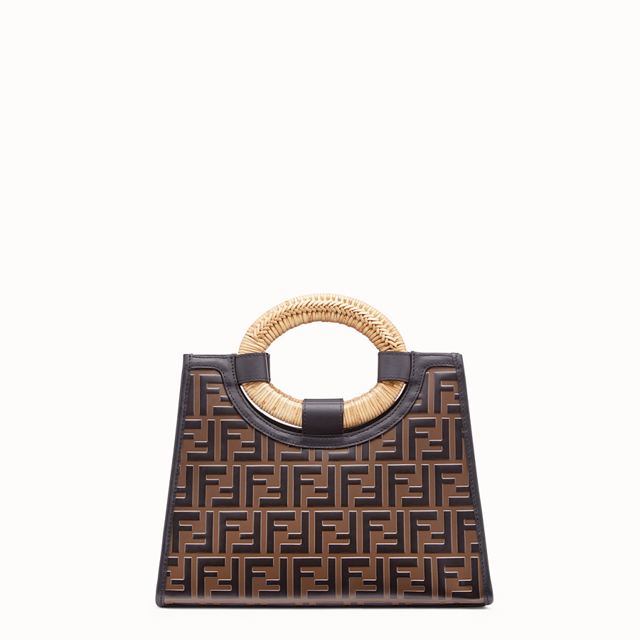 FENDI RUNAWAY SHOPPER - Brown leather small shopper - view 3 detail
