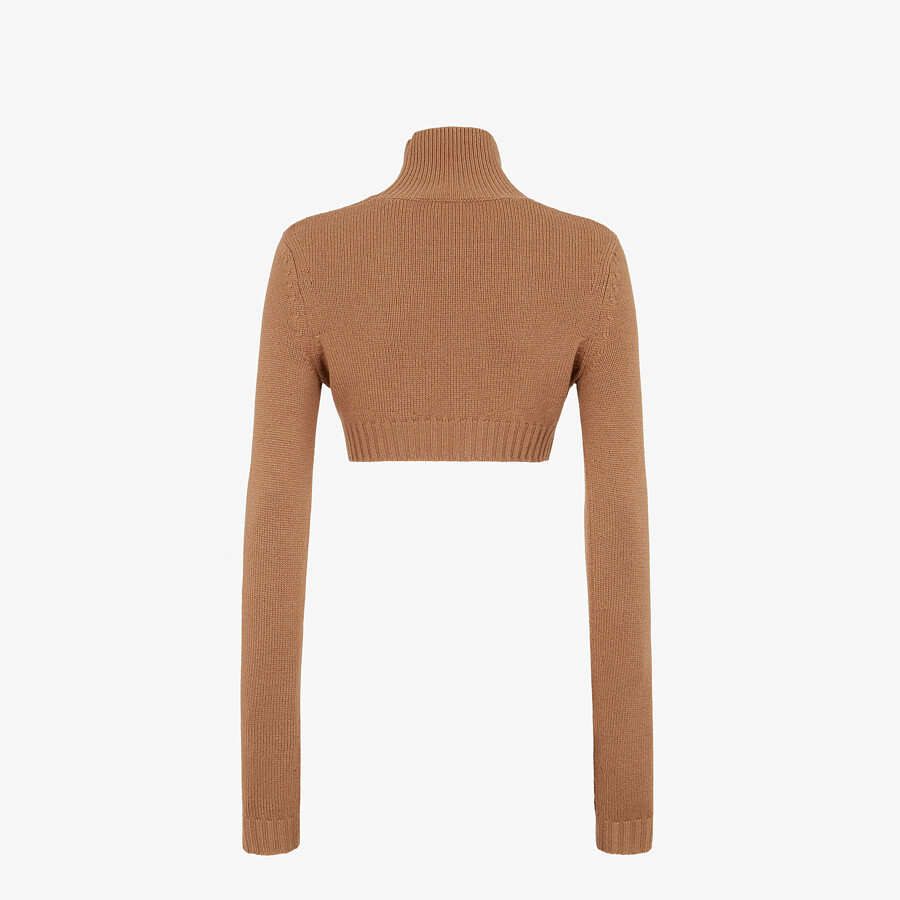 FENDI SWEATER - Brown cashmere sweater - view 2 detail