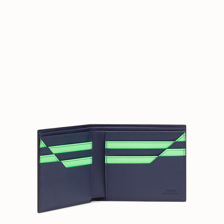 FENDI WALLET - Blue leather bi-fold wallet - view 3 detail