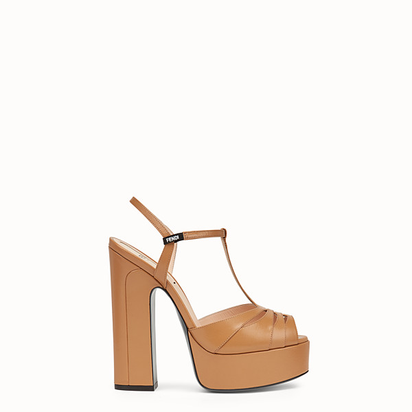 FENDI SANDALS - Beige leather sandals - view 1 small thumbnail