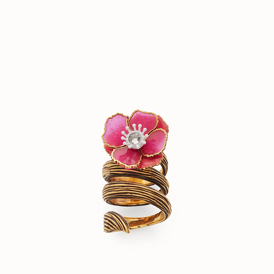 FENDI FLOWER RING - Fuchsia enameled ring - view 1 detail