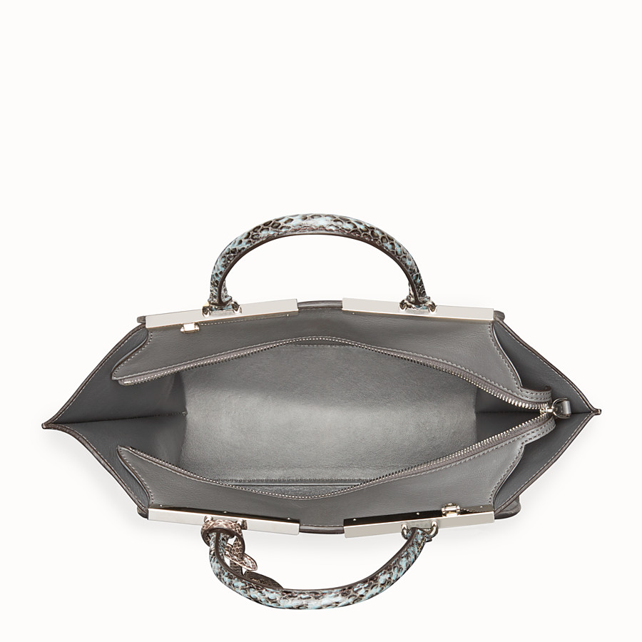 FENDI 3JOURS - Grey leather bag with exotic details - view 4 detail