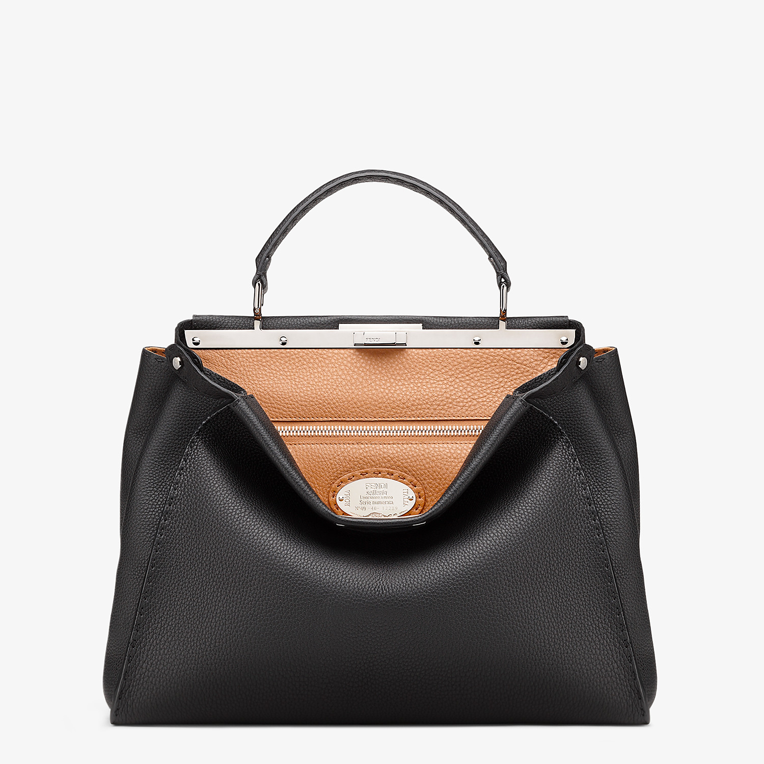 FENDI PEEKABOO ICONIC LARGE - Black leather handbag - view 1 detail