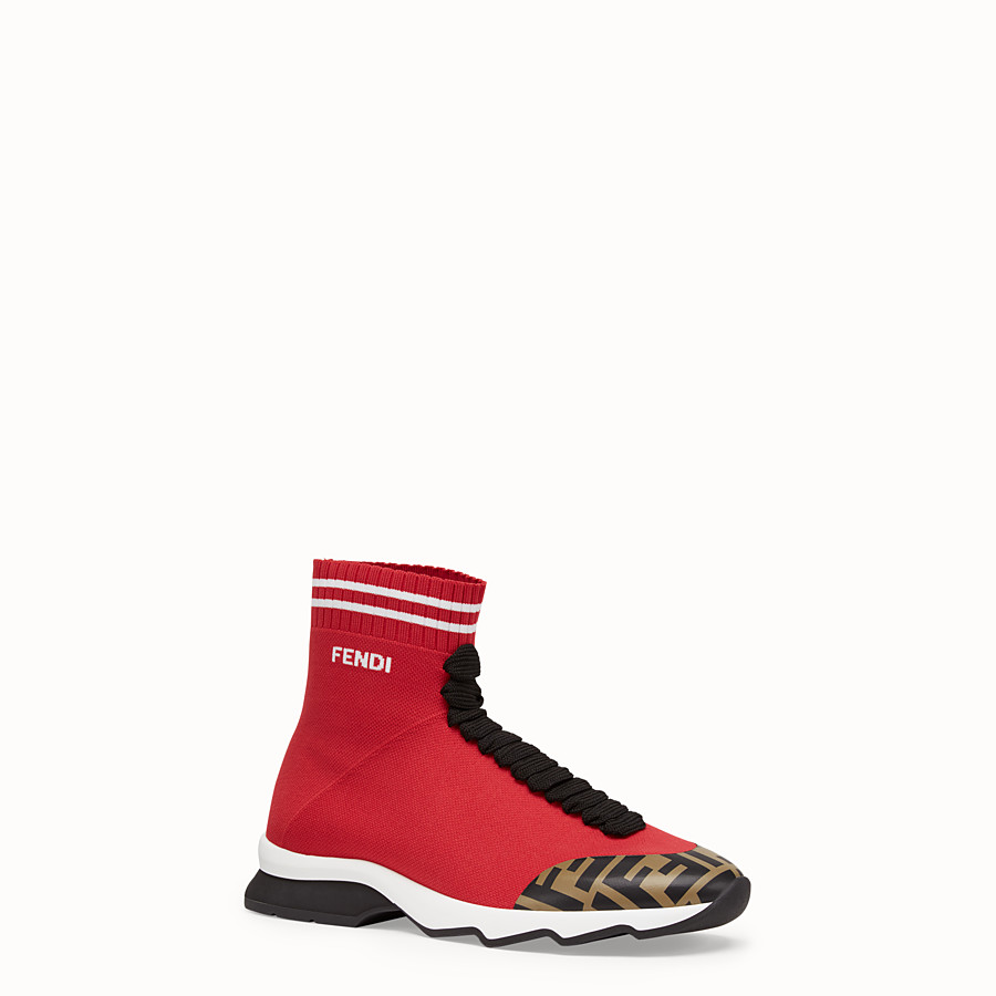 FENDI SNEAKERS - Red fabric sneaker boots - view 2 detail