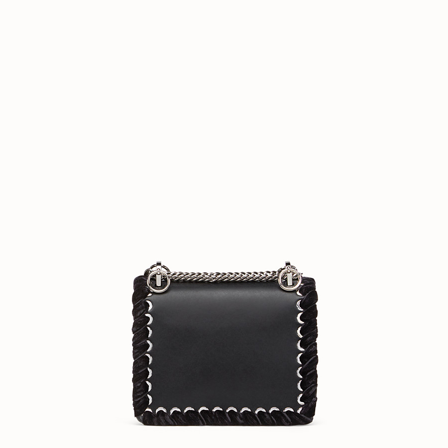 FENDI KAN I SMALL - Black leather mini bag with rhinestones - view 3 detail