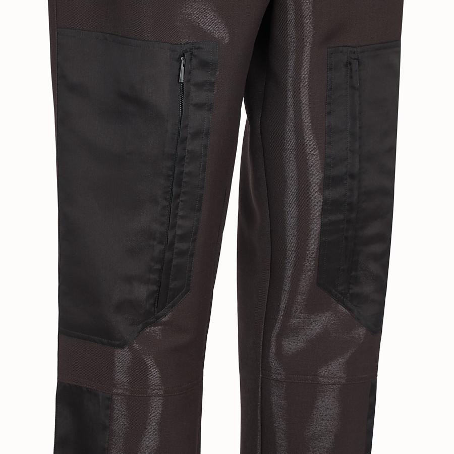 FENDI PANTS - Brown tech wool pants - view 3 detail