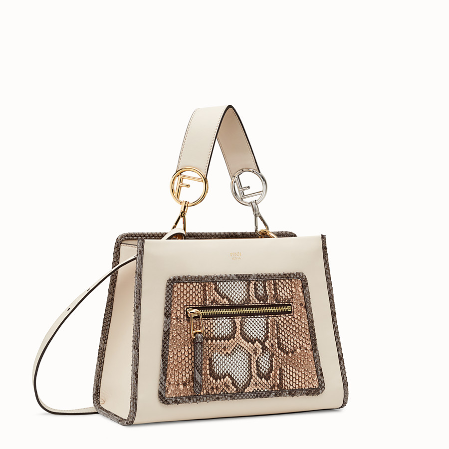 FENDI RUNAWAY SMALL - White leather bag with exotic details - view 2 detail