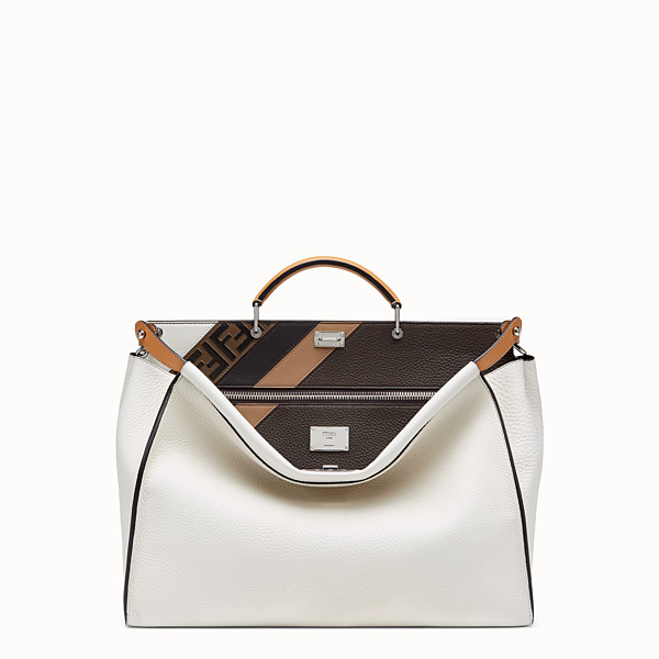 FENDI PEEKABOO MEDIUM - White Romano leather bag - view 1 small thumbnail