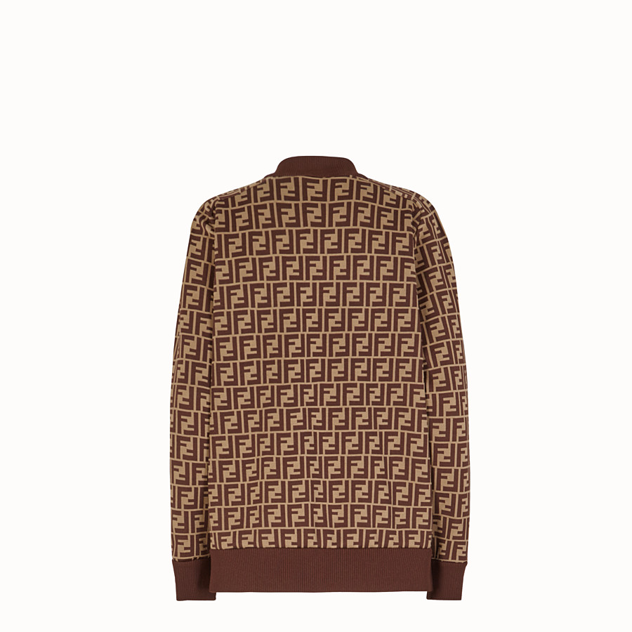 FENDI JUMPER - Brown fabric and fur jumper - view 2 detail
