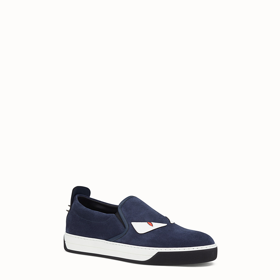 FENDI SNEAKER - cosmos blue leather slip-on - view 2 detail