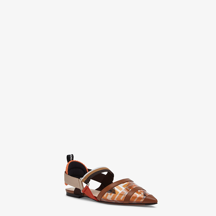 FENDI SLINGBACK - Orange leather and PU Colibrì - view 2 detail