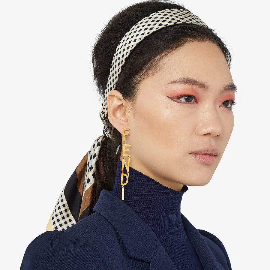 FENDI SIGNATURE EARRINGS - Gold-color earrings - view 2 detail