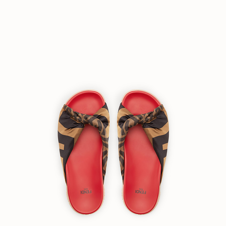 FENDI SANDALS - Multicolour satin and leather slides - view 4 detail