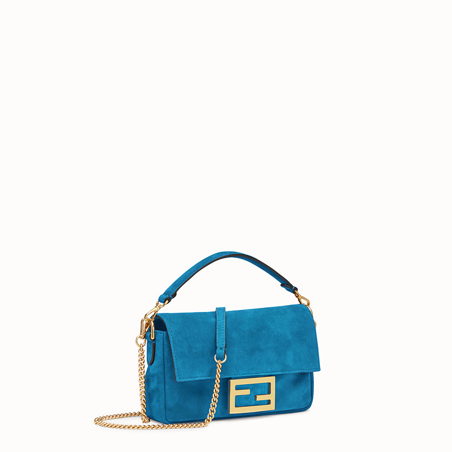 FENDI MINI BAGUETTE - Blue suede bag - view 2 detail
