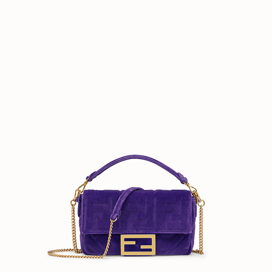 FENDI MINI BAGUETTE - Purple velvet bag - view 1 detail